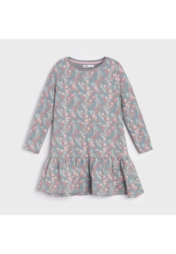 Sinsay - Sukienka z nadrukiem w kwiaty - Szary. Kolor: szary. Wzór: kwiaty, nadruk