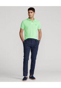 Ralph Lauren - RALPH LAUREN - Pastelowa koszula The Earth Custom Slim Fit. Typ kołnierza: polo. Kolor: zielony. Materiał: poliester, prążkowany. Długość: długie. Wzór: haft, ze splotem