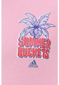 adidas Performance - T-shirt bawełniany. Kolor: różowy. Materiał: bawełna. Wzór: nadruk