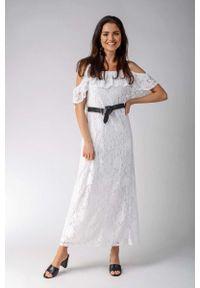 Nommo - Ecru Koronkowa Sukienka Maxi Inspirowana Hiszpańskim Stylem. Materiał: koronka. Długość: maxi
