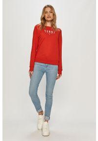 Czerwona bluza Tommy Jeans na co dzień, z nadrukiem, długa