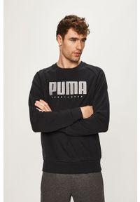 Czarna bluza nierozpinana Puma na co dzień, casualowa, z aplikacjami, raglanowy rękaw