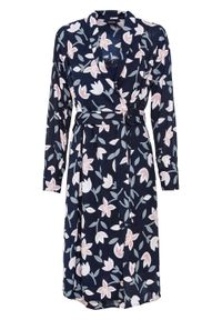 Niebieska sukienka bonprix z nadrukiem, kopertowa, z długim rękawem
