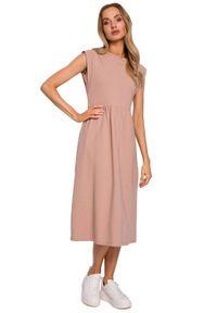 MOE - Luźna bawełniana sukienka midi na lato z podwyższoną talią. Materiał: bawełna. Sezon: lato. Długość: midi
