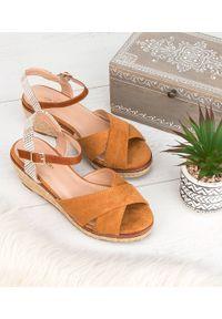Brązowe sandały SIXTH SENS ze sprzączką, na co dzień, klasyczne, w kolorowe wzory