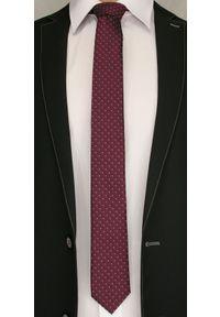 Bordowy, Burgundowy Elegancki Krawat -Angelo di Monti- 6 cm, Wzór Geometryczny, Męski. Kolor: czerwony. Wzór: geometria. Styl: elegancki