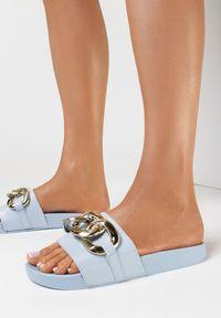 Born2be - Niebieskie Klapki Pheromia. Nosek buta: otwarty. Kolor: niebieski. Materiał: guma