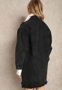 Renee - Czarna Kurtka Rhodeis. Typ kołnierza: kolnierz wykładany. Kolor: czarny. Materiał: jeans. Długość: długie. Wzór: aplikacja