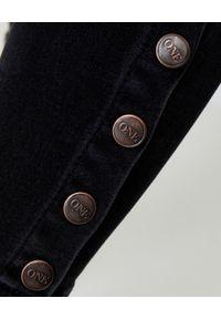 Czarne jeansy ONETEASPOON z aplikacjami, z podwyższonym stanem