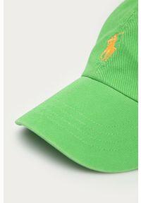 Zielona czapka z daszkiem Polo Ralph Lauren z aplikacjami