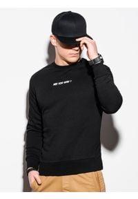 Ombre Clothing - Bluza męska bez kaptura z nadrukiem B1215 - czarna - XXL. Typ kołnierza: bez kaptura. Kolor: czarny. Materiał: bawełna, poliester. Wzór: nadruk #6