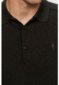 Czarny sweter AllSaints z długim rękawem, krótki