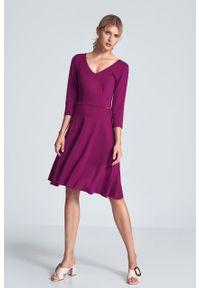 e-margeritka - Sukienka koktajlowa wizytowa fuksja - s. Okazja: do pracy. Kolor: różowy. Materiał: poliester, wiskoza, materiał, elastan. Typ sukienki: rozkloszowane. Styl: wizytowy