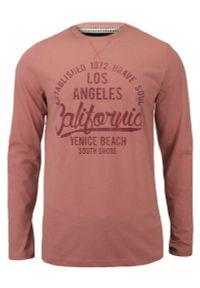 Różowa Koszulka Męska (T-Shirt) - Długi Rękaw, Longsleeve - Brave Soul. Okazja: na co dzień. Kolor: różowy. Materiał: bawełna. Długość rękawa: długi rękaw. Długość: długie. Wzór: nadruk. Styl: casual