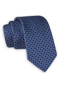 Niebiesko-Granatowy Elegancki Krawat -Angelo di Monti- 6 cm, Męski, w Kratkę. Kolor: niebieski. Wzór: kratka. Styl: elegancki