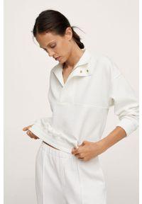 mango - Mango - Bluza Textura. Kolor: biały. Materiał: włókno. Długość rękawa: długi rękaw. Długość: krótkie