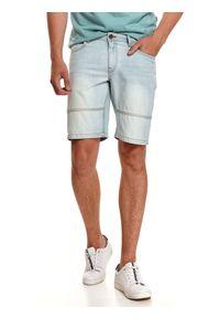 TOP SECRET - Jeansowe szorty męskie z przetarciami. Kolor: niebieski. Materiał: jeans