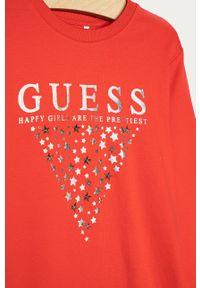 Czerwona sukienka Guess Jeans z nadrukiem, prosta