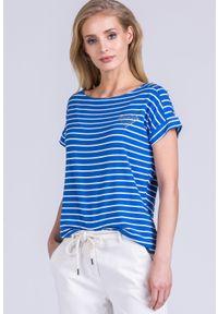 Niebieski t-shirt Monnari krótki, casualowy