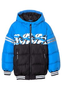 Czarna kurtka bonprix z kapturem, w prążki, na zimę