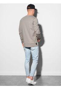 Ombre Clothing - Longsleeve męski z nadrukiem L130 - beżowy - XXL. Kolor: beżowy. Materiał: tkanina, bawełna. Długość rękawa: długi rękaw. Wzór: nadruk