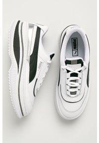 Białe buty sportowe Puma na sznurówki, na obcasie, z okrągłym noskiem