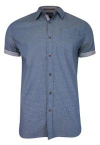 Niebieska koszula casual Just Yuppi na co dzień, z krótkim rękawem, krótka