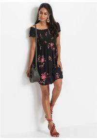 Czarna sukienka bonprix w kwiaty, na lato
