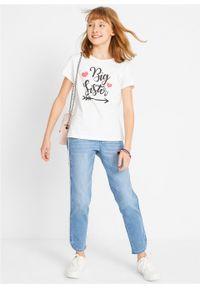 T-shirt dziewczęcy (2 szt.) bonprix biały + morski pastelowy. Kolor: biały