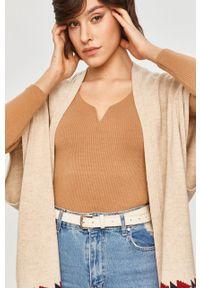 Beżowy sweter rozpinany Answear Lab z aplikacjami, wakacyjny