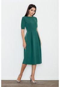 e-margeritka - Sukienka rozkloszowana midi zielona - s. Kolor: zielony. Materiał: materiał, wiskoza, poliester. Styl: wizytowy, elegancki. Długość: midi