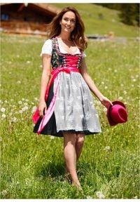 Sukienka ludowa z fartuchem z koronki, długość przed kolano bonprix czarny z nadrukiem. Kolor: czarny. Materiał: materiał, bawełna, koronka, poliester, elastan. Wzór: nadruk, koronka