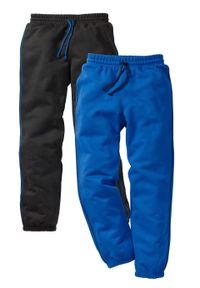 Spodnie chłopięce dresowe (2 pary) bonprix czarny + lazurowy niebieski. Kolor: czarny. Materiał: dresówka. Styl: klasyczny, retro