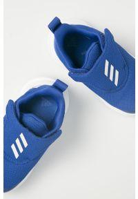 Niebieskie buty sportowe adidas Performance z cholewką, do biegania, z nadrukiem, na rzepy