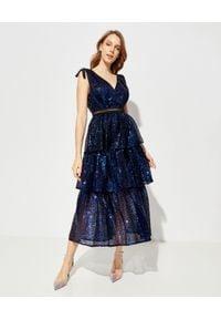 SELF PORTRAIT - Sukienka midi z cekinami. Okazja: na imprezę. Typ kołnierza: kokarda. Kolor: niebieski. Materiał: tkanina, koronka. Wzór: aplikacja. Typ sukienki: kopertowe. Długość: midi