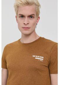 Tom Tailor - T-shirt. Okazja: na co dzień. Kolor: brązowy. Materiał: bawełna, dzianina. Wzór: gładki. Styl: casual