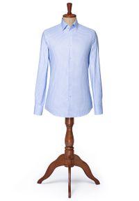 Niebieska koszula Lancerto na lato, vintage, w kratkę