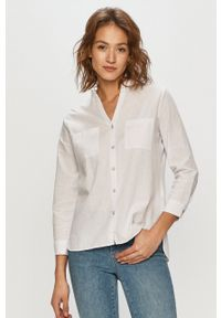 Cross Jeans - Koszula. Okazja: na co dzień. Kolor: biały. Materiał: tkanina. Długość rękawa: długi rękaw. Długość: długie. Wzór: gładki. Styl: casual
