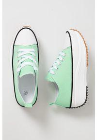 Answear Lab - Tenisówki. Zapięcie: sznurówki. Kolor: zielony. Materiał: guma. Obcas: na platformie. Styl: wakacyjny
