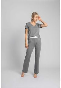 MOE - Długie Bawełniane Spodnie do Spania - Szare. Kolor: szary. Materiał: bawełna. Długość: długie