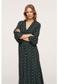 mango - Mango - Sukienka Rose. Kolor: zielony. Materiał: włókno. Typ sukienki: rozkloszowane