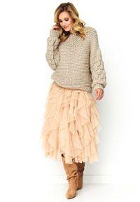 Beżowy sweter oversize Makadamia casualowy, na co dzień