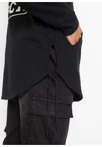 Czarna bluza bonprix z nadrukiem, długa