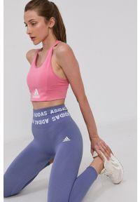 adidas Performance - Legginsy. Kolor: fioletowy. Materiał: dzianina, poliester