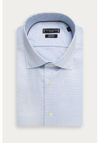 Niebieska koszula Tommy Hilfiger Tailored z klasycznym kołnierzykiem, elegancka, długa