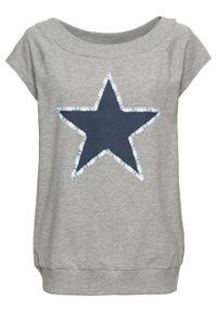 Shirt z gwiazdą bonprix jasnoszary melanż. Kolor: szary. Wzór: melanż