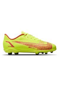 Buty piłkarskie korki dla dzieci Nike Mercurial JR Vapor 14 Club FG/MG CV0823. Zapięcie: zamek. Materiał: skóra, materiał, syntetyk. Szerokość cholewki: normalna. Sport: piłka nożna