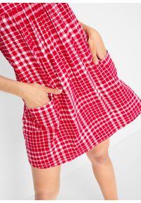 Sukienka z dżerseju z kieszeniami, wzorzysta bonprix czerwono-biały w kratę vichy. Kolor: czerwony. Materiał: jersey. Długość rękawa: na ramiączkach