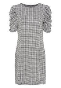 Sukienka z dżerseju bonprix czarno-biel wełny w pepitkę. Kolor: czarny. Materiał: jersey, materiał, poliester, elastan, wiskoza, wełna. Typ sukienki: proste
