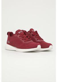 Czerwone buty sportowe skechers z cholewką, z okrągłym noskiem